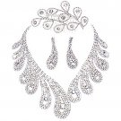 Bridal Rhinestone crystal Faux pearl topknot necklace earrring set NR356