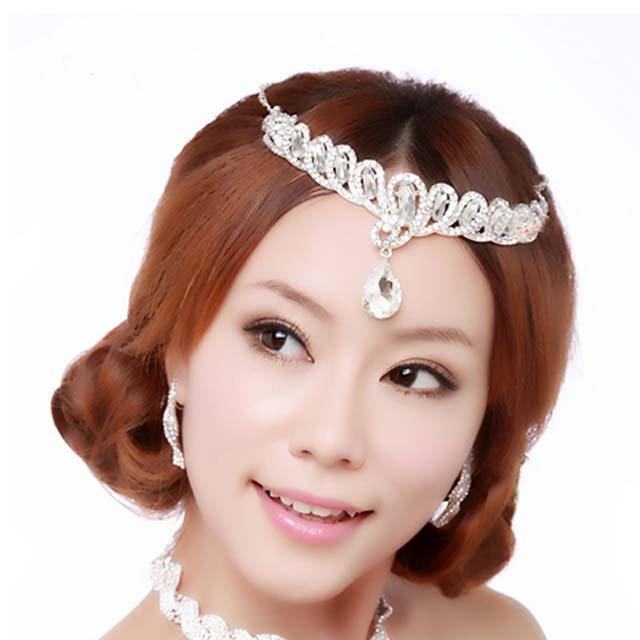 Bridal Wedding Rhinestone forehead band headpiece tearring necklace set NR314