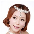 Bridal Wedding Rhinestone forehead band headpiece tearring necklace set NR314