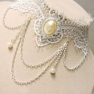 Gothic Lolita Lace white flower Faux pearl dangle Choker necklace NR426