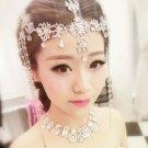 Bridal Rhinestone forehead band dangle headdress topknot Hair tiara HR232
