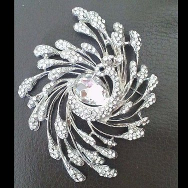 Bridal peacock vintage style crystal  Rhinestone brooch pin PI599