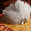 Bridal Off White feather Headpiece Hair flower Fascinator topknot clip BA183