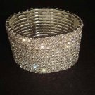 12 row Bridal Rhinestone Stretch Cuff Bracelet BR176