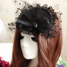 Bridal Black bow Headpiece Hair lace Fascinator topknot clip BA185