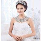 Bridal Gorgeous Prom bead crystal Rhinestone shoulder deco necklace HR244