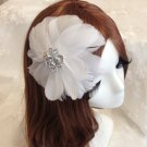Bridal Off White feather Headpiece Hair flower Fascinator topknot clip BA184