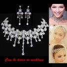Bridal dangle flower Rhinestone Crystal Hair tiara necklace earring set NR425