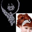 Bridal crystal Rhinestone peacock comb topknot Choker earring necklace set NR409