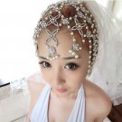 Bridal Rhinestone forehead band Butterfly Faux pearl topknot Hair tiara HR215