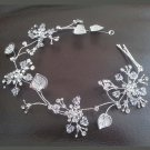 Bridal Rhinestone crystal Flower headpiece Adjustable forehead band Tiara HR226