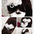 Bridal White lace Bow Headpiece Hair Fascinator Faux pearl topknot clip BA187