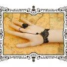 Gothic Lolita Sexy Bow black Belly dance slave bracelet - thin hand BR361