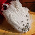 Bridal White feather Headpiece Hair Fascinator Faux pearl topknot clip BA186