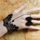Gothic Lolita Sexy Bow black Belly dance slave bracelet - thin hand BR363