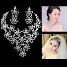 Bridal Rhinestone crystal Flower Topknot earring necklace set Headpiece NR407