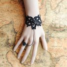 Gothic Lolita Sexy Flower dangle black Belly dance slave bracelet BR362