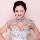 Bridal crystal Rhinestone Lace shoulder deco Bra Strap Halter necklace HR238
