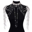Bridal crystal Dangle faux pearl Rhinestone shoulder deco bib necklace NR461