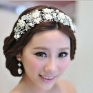 Bridal Rhinestone crystal dangle Faux pearl forehead deco Headpiece HR257