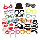 31 Pcs. Birthday Bridal Photo Booth Props mustache lip Glasses On a stick PP01