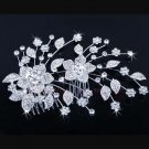 BRIDAL  PROM FLOWER LEAF  HEADDRESS CLEAR RHINESTONE HAIR TIARA COMB RB648