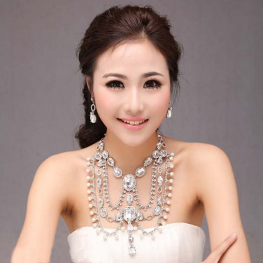 Bridal crystal Rhinestone huge  shoulder deco Bra Strap Halter necklace NR476
