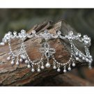 Bridal Rhinestone crystal dangle Faux pearl forehead Maang tikka Headpiece HR328