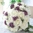 Wedding Bouquet Artificial Plastic White purple Flower Posy WB02