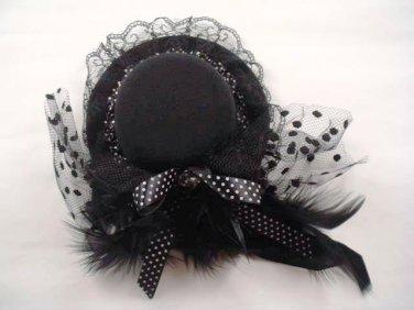 Bridal Feather Black ribbon Birdcage veil hair Fascinator Mini Hat clip BA164