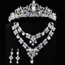 2 row Bridal Rhinestone crystal dangle Topknot earring necklace set tiara NR386A