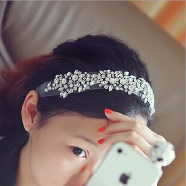 Bridal Rhinestone trim sash applique headband Princess Prom Tiara HR313