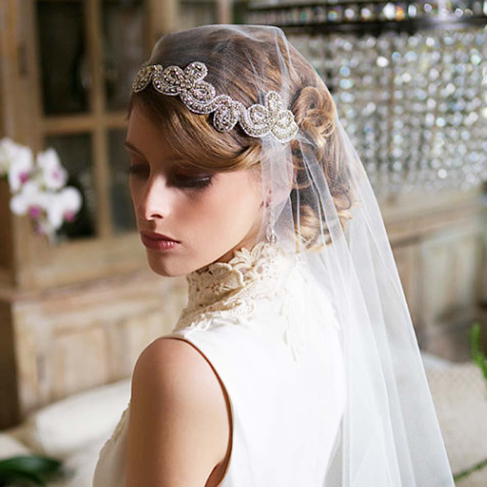Bridal Rhinestone trim sash applique ribbon headband Princess Prom Tiara HR311