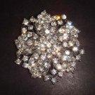 Bridal vintage style clear crystal Rhinestone silver tone Brooch pin PI282