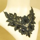 Gothic sexy Lolita Lace Bead dangle flower Black Choker necklace NR441