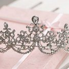Bridal Clear Queen Silver tone Party Rhinestone headpiece Tiara Crown HR323
