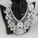 Lolita vintage style Rhinestone bridal Crochet lace White Choker necklace NR436