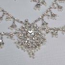 Bridal Rhinestone crystal silver Topknot Maang tikka deco Headpiece tiara HR305