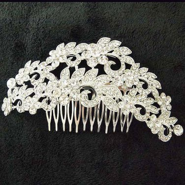 Bridal dance Rhinestone Flower headpiece Princess Prom Tiara comb RB653