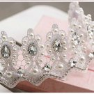 Bridal Rhinestone Crystal adjustable lace Prom Princess crown tiara HR306