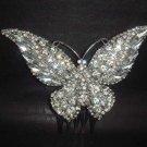 Bridal Rhinestone silver tone clear crystal Butterfly Hair tiara Comb RB416