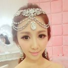 Bridal Rhinestone crystal dangle Topknot necklace forehead deco Headpiece HR304