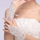 Bridal prom sexy Lace white flower Fingerless Voile Sequin Gloves S48