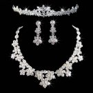 Bridal Silver tone Clear Rhinestone crystal tiara earring necklace set NR285A