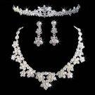 Bridal Silver tone Clear Rhinestone crystal tiara earring necklace set NR285A
