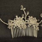 Bridal Crystal Adjustable Rhinestone Prom flower Hair tiara Comb RB470