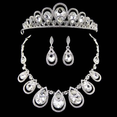 3 item Bridal Rhinestone Crystal Hair tiara tiara necklace earring set NR467A