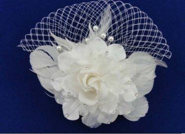 Bridal white dance flower veil feather Birdcage Fascinator net Hair clip HR319