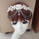 Bridal Rhinestone lace adjustable dangle Maang tikka Prom Princess tiara HR308