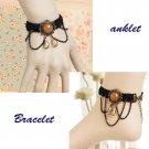 Bridal  sexy Lolita Lace  brown black bracelet anklet set BR344